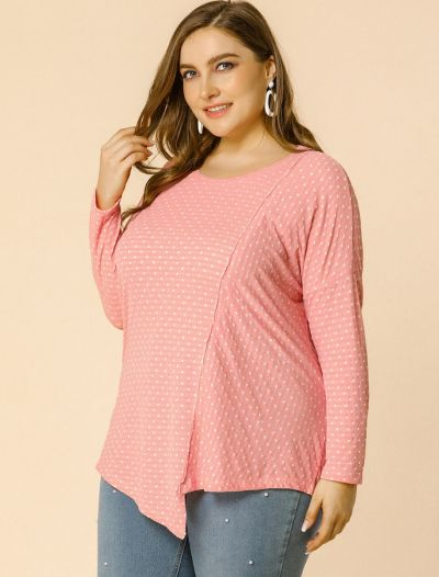Women's Plus Size Top Polka Dots Loose Long Sleeve Asymmetrical Tops Blouse