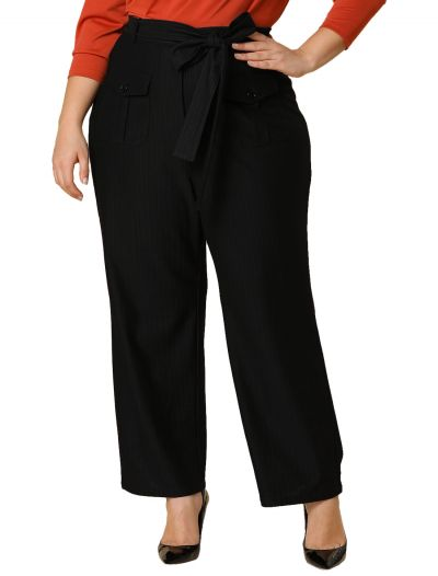 Women's Plus Size High Waist Loose Wide Leg Pants With Pockets