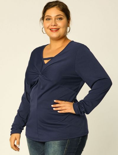 Women's Plus Size Casual Tops Keyhole Twist Front Work Top