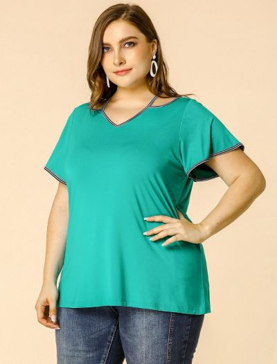Women's Plus Size Tunics Top V Neck V Neck Cold Shoulder T Shirts