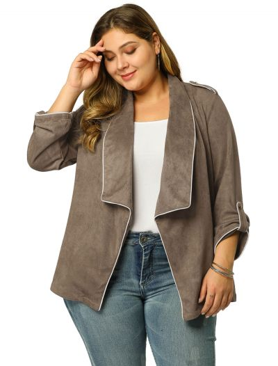 Women's Plus Size Open Front Cardigan Faux Suede Blazer Office Jacket