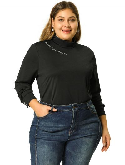 Women's Plus Size Long Sleeve Embroidery High Neck Work Top