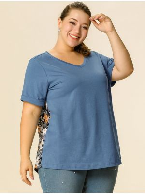 Women's Plus Size Basic Blouse V Neck Floral Back Summer Casual Top