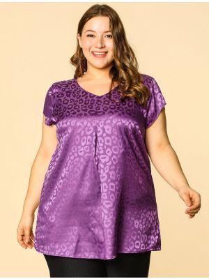 Women's Plus Size V Neck Blouse Floral Jacquard Summer Casual Tops