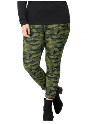 Women Plus Size Elastic Waist Stretch Camouflage Skinny Leggings