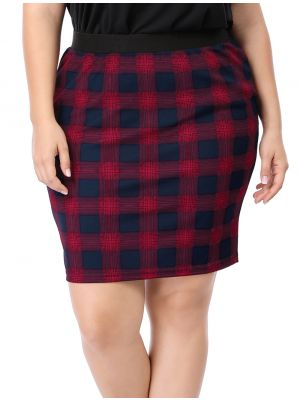 Women Plus Size Elastic Waistband Plaids Pencil Skirt