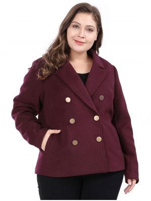 9169508983ec4 ... Women s Plus Size Double Breasted Notched Lapel Coat