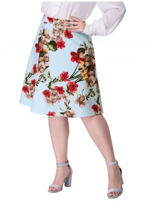 Women's Plus Size Zipper A Line Full Floral Print Skirt