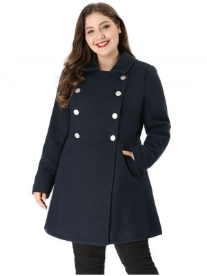 Women's Plus Size A Line Turn Down Collar Double Breasted Coat