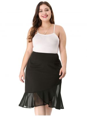 Women's Plus Size Chiffon Stretch Asymmetric Hem Ruffle Skirt