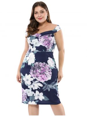 Women's Floral Print Off Shoulder Plus Size Cocktail Dress