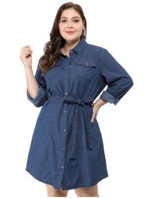 Agnes Orinda Women's Plus Size Belted Above Knee Denim Shirt Dress