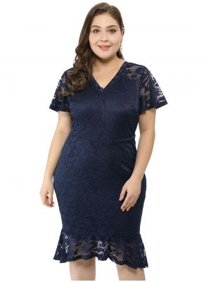 Women's Plus Size V Neck Fishtail Lace Cocktail  Dress