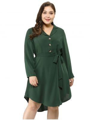 Agnes Orinda Women's Plus Size Career Button Down Lapel Vintage Shirt Dress