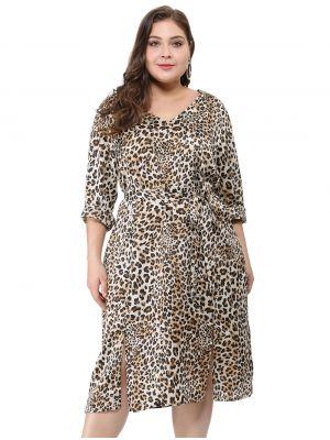 Women's Plus Size Double Split Tie Waist V Neck Leopard Dress