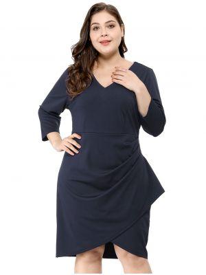 Agnes Orinda Women's Plus Size Front Slit V-Neck Wrap Stretch Dress