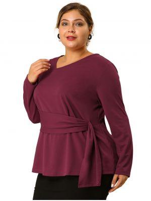 Women's Plus Size V Neck Belt Tie Blouse Long Sleeve Peplum Top