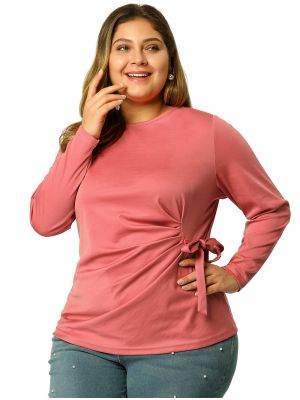 Women's Tie Blouse Plus Size Long Sleeve Strench Basic Tops