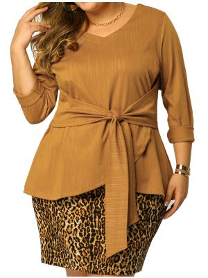Women's Plus Size V Neck Loose Belted Knot Tie Knit Top