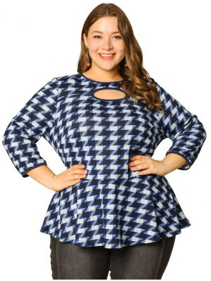 Women's Plus Size Party Tops Cut Out Neck Zig Zag Peplum Top