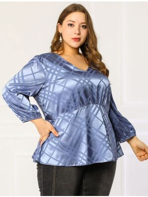 Women's Plus Size Blouses V Neck Ruffle Hem Formal Peplum Blouse