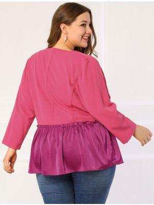 Women's Plus Size Blazer Open Front Casual Color Block Peplum Blazers