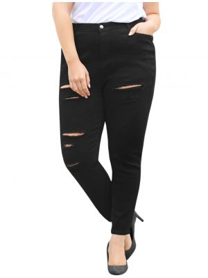 Women Plus Size Zip Fly Mid Rise Skinny Ripped Jeans