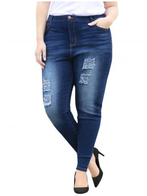 Women Plus Size Mid Rise Distressed Washed Skinny Jeans