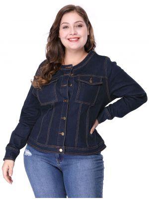 Women's Plus Size Long Sleeves Collarless Denim Jacket