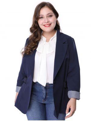 Women's Plus Size Contrast Stripe Cuff Notched Lapel Blazer