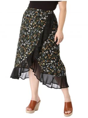 Women's Plus Size Floral Elastic Waist Ruffle Wrap Midi Skirt
