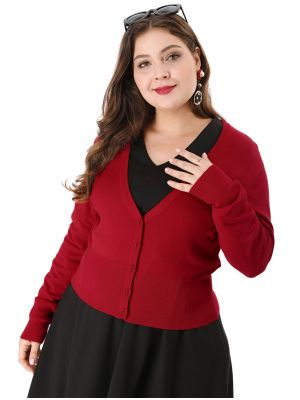 Women's Solid Button Down Long Sleeve Plus Size Cropped Bolero Cardigan