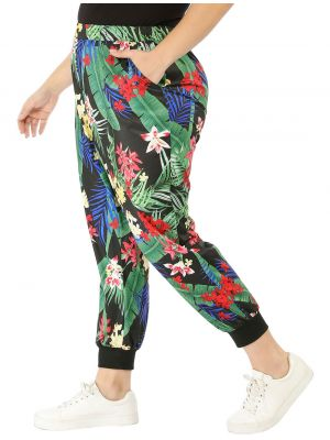 Women's Plus Size Elastic Waist Pockets Floral Jogger Pants