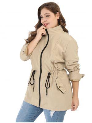 Women's Plus Size Zip Up Drawstring Utility Light Jacket