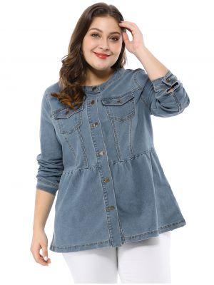 Women's Plus Size Button Closure Collarless Peplum Denim Jacket