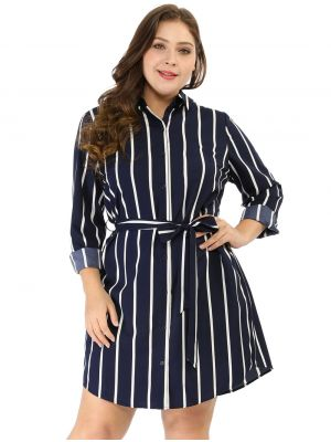Women's Striped Plus Size Tie Waist Long Sleeve Shirt Dress