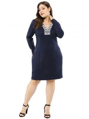Women's Plus Size Embroidered V Neck Sheath Dress