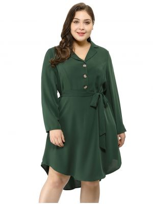 Agnes Orinda Women's Plus Size Career Button Down Lapel Vintage Shirt Dress