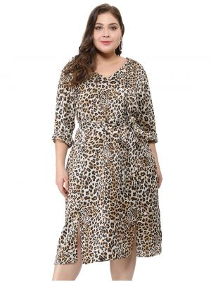 Women's Plus Size Double Split Tie Waist V Neck Leopard Dress