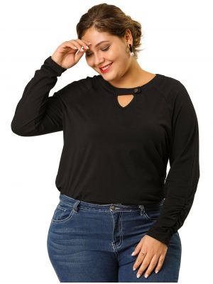 Women's Plus Size Keyhole Work Long Sleeve Top