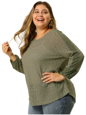 Women's Plus Size V Neck Knit Color Block Loose Top