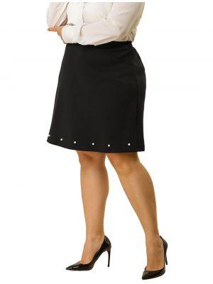 Women's Pleated Skirt Plus Size High Waist Knee Length Midi Skirt