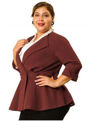 Women's Plus Size Ruffle V Neck Button Ruched Peplum Blazer