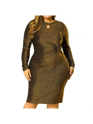Women's Plus Size Keyhole Bodycon Cocktail Midi Glitter Dress