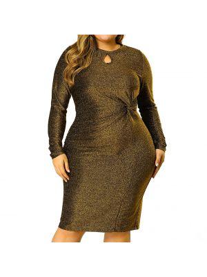 Women's Plus Size Keyhole Bodycon Cocktail Midi Glitter Dress