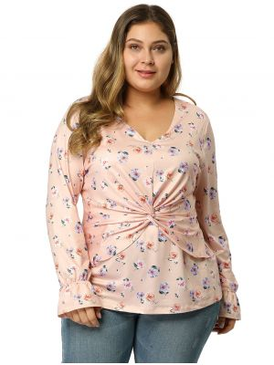 Womens Plus Size V Neck Bell Sleeve Ruched Tops Floral Blouse