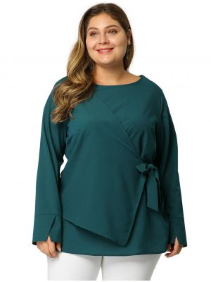 Womens Plus Size overlap Blouse 3/4 Sleeve Tie Popover Top
