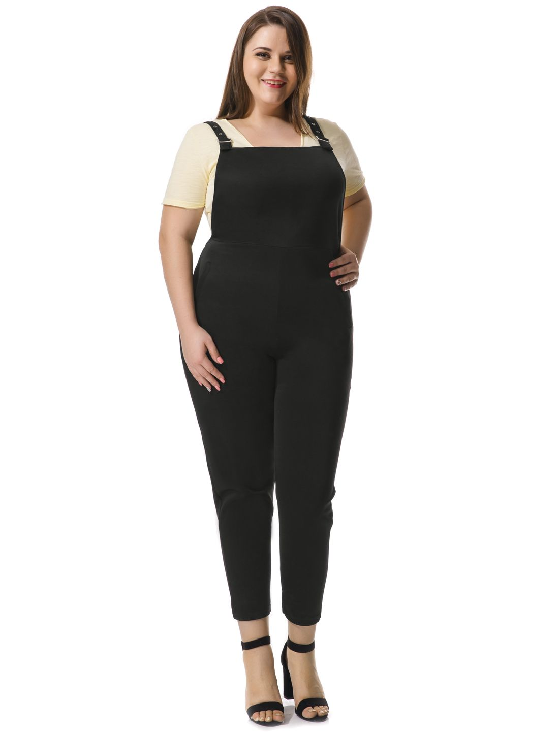 Women Plus Size Pinafore Overalls w Side Pockets - Pants
