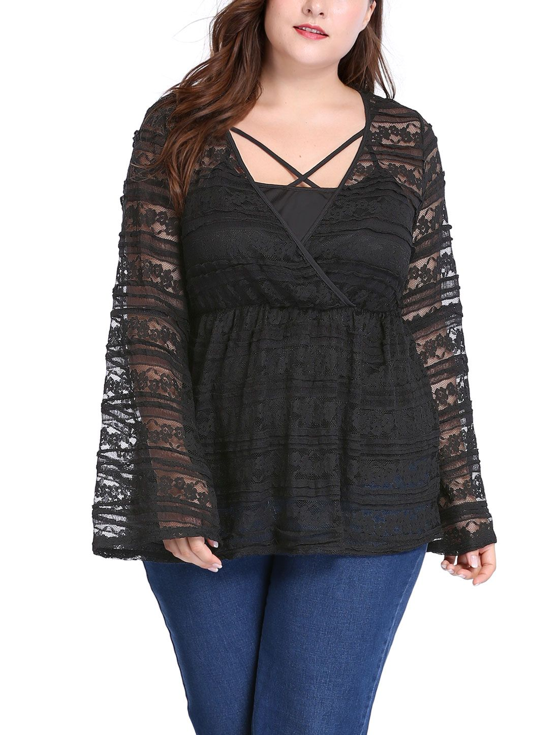 4a28d1756a2 Women Plus Size Bell Sleeves Sheer Lace Babydoll Top w Camisole Sets