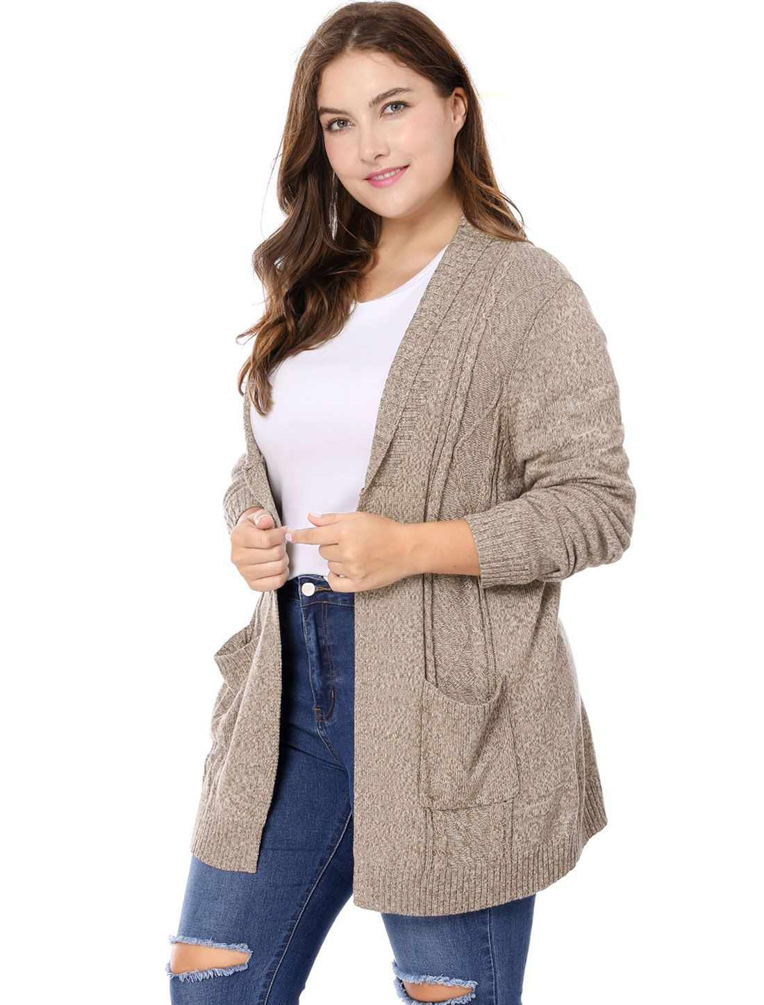 27f35b160e530 Women Plus Size Shawl Collar Open Front Sweater Cardigan - Outerwear